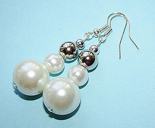 337. náušnice - perly a stříbro