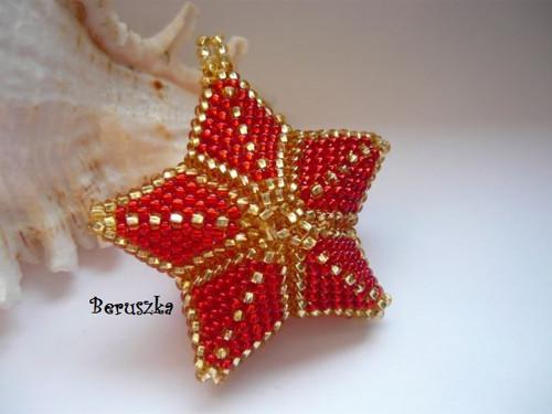 Vánoční hvězda 3D - červeno-zlatá