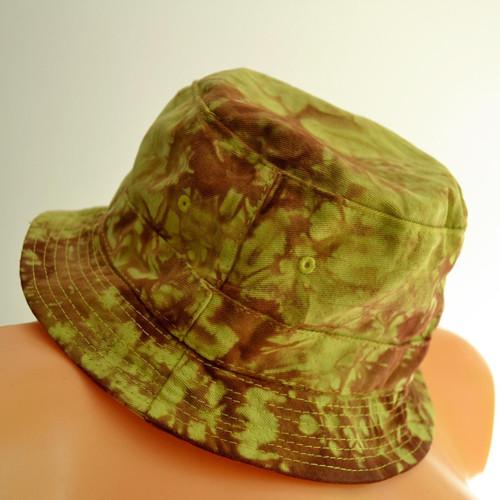Batikovaný dětský klobouček - zeleno-hnědý