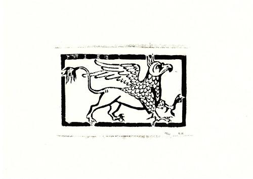 Bestiář - Gryf (dřevořez, ruční tisk)