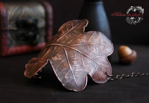 poměděný list dubu - náramek