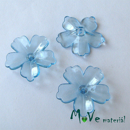 Akrylový transparentní květ 28mm, 4ks, modrý