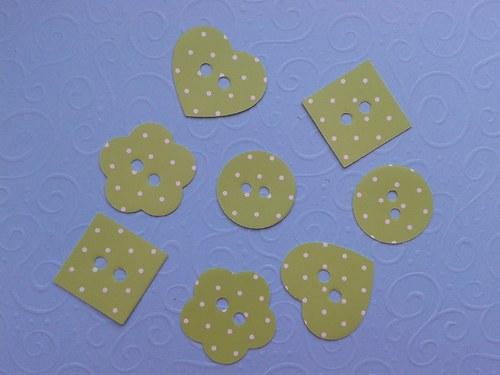 Knoflíky - žluté s puntíky