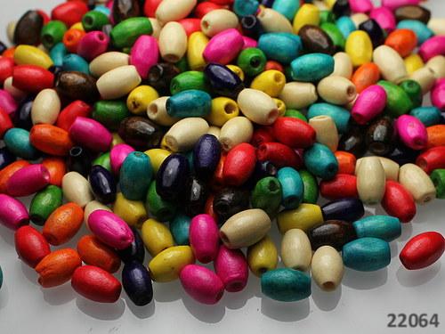 22064 Dřevěné korálky barelky 8/5 MIX, bal.7g