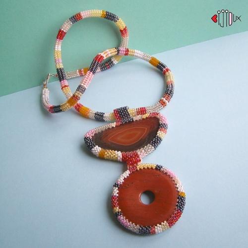 Pruhovaná Šála Lála - náhrdelník
