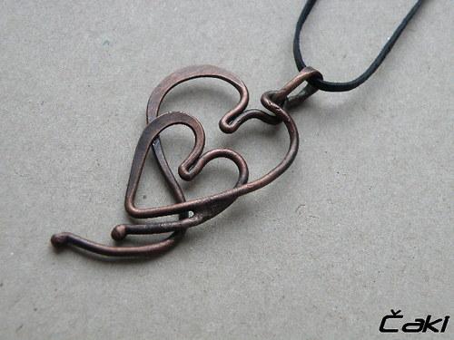 Přívěšek - srdce - měď - Miluji Tě čím dál víc