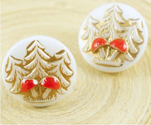 1ks Bílé Zlato Červené Lesní Strom Houba Kolo Ručn