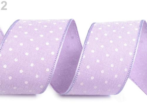 Bavlněná stuha s puntíky šíře 40 mm (1m) - fialová