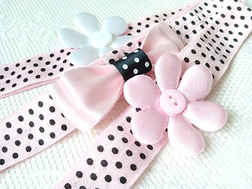 Baby girl elastic headbands (pink/white/dots)