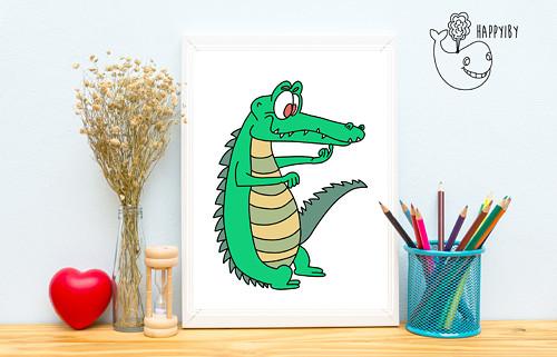 Krokodýl v barvě (bez stínů)