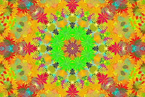 Mandala hippies - květiny