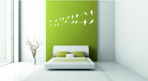Samolepka na zeď - Ptáci na drátě