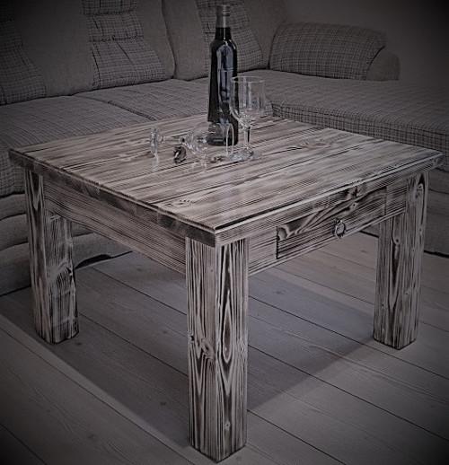 Masivní stolek se šuplíčkem -  opalovaný