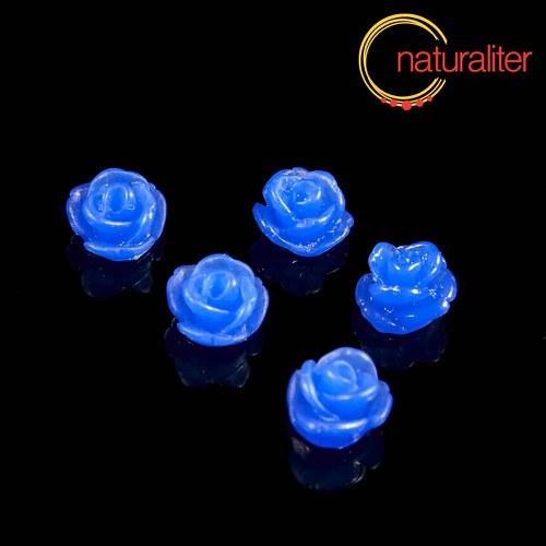 Růžička - kabošon z pryskyřice 7mm, modrá, 10ks