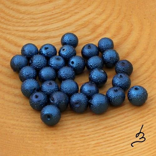 Voskové perle vroubkované TM modré 8 mm - 20 ks