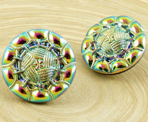 1ks Vitrail Medium Fialová Vyřezávané Vzor, Kulatý