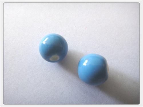 Porcelánový korálek, modrý jezerní
