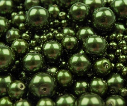 Voskované perly 4-12mm kulička (30g) - oliv. zeleň