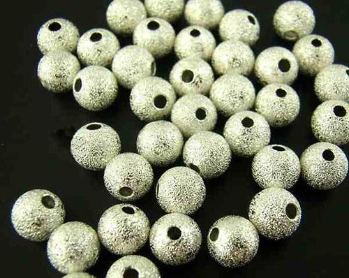 kovový korálek hvězdný prach/ stříbro/ 6mm/10ks