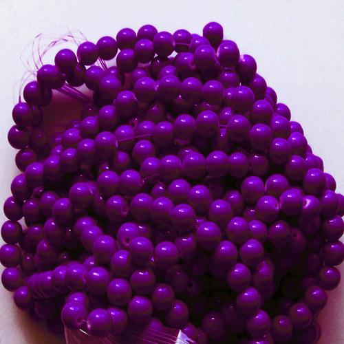 skleněné korálky LESK/ fialová tmavá  10mm/10ks
