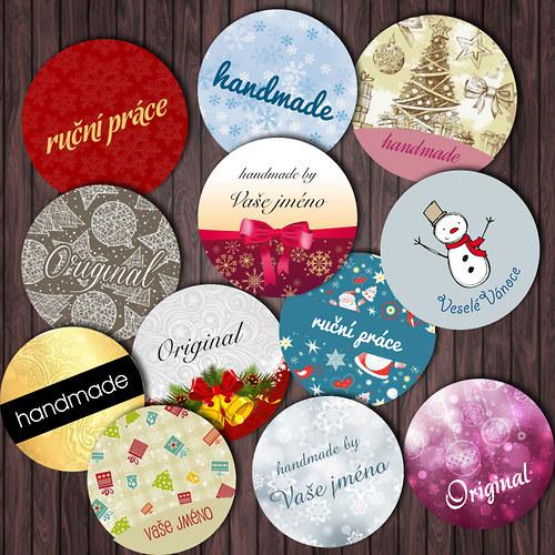 Kulaté samolepky handmade - Vánoční motivy