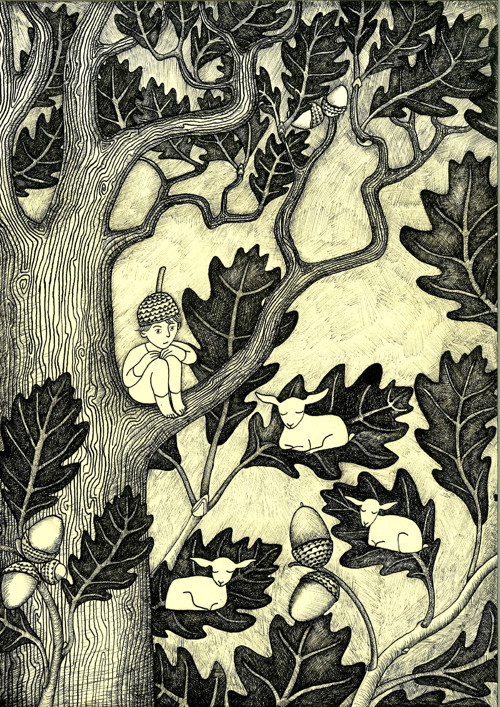 Autorský plakát Chlapec na dubu