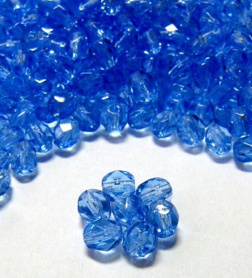 Broušené modré korálky 4mm 30 ks