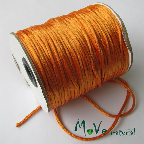 Šňůra Ø2mm saténová, pomerančová, 1m