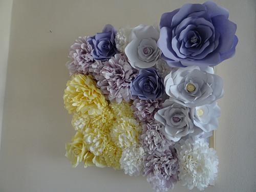 Dekorace - 3D obraz z elegantních papírových květi