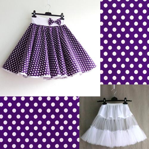 Fialová puntík. sukně+jednoduchá bílá spodnička