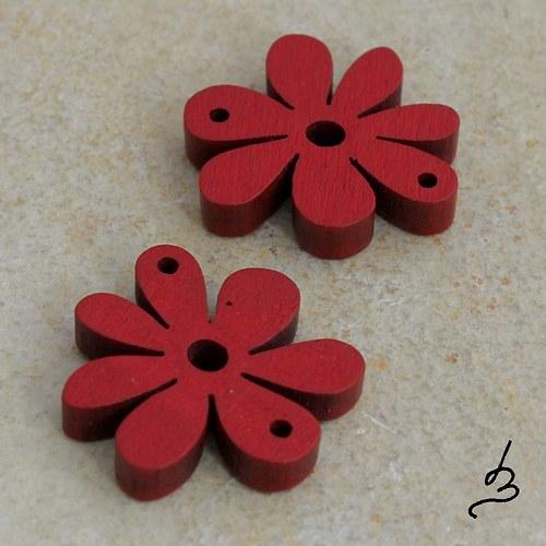 Dřevěný květ červený - 4 ks