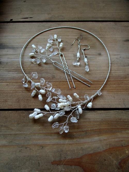 Set Větvičky s perlami a křištálem