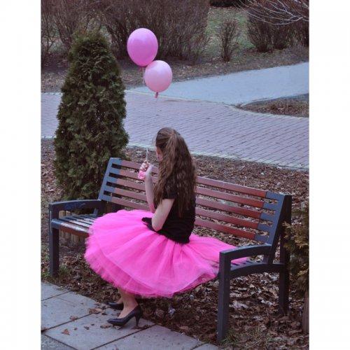 Sytě růžová tylová sukně