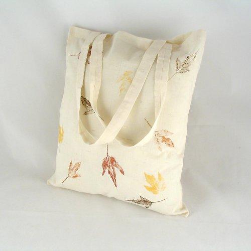 Nákupní taška s barevnými listy - přírodní
