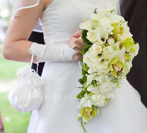 Svatební anglická kapka, bílo-zelená variace