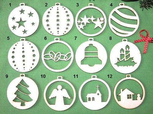 Vánoční dřevěné ozdoby BAŇKY TOPOL - 14 druhů