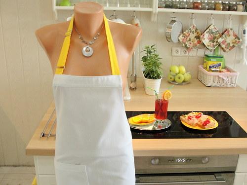 Zástěra na vaření - bílá se žlutou - na přání