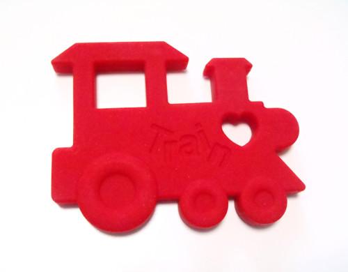 Červená  mašinka - silikonové kousátko