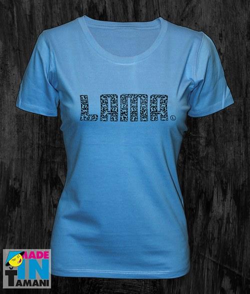 Dámské modrá aqua tričko s Lamou potisk 04