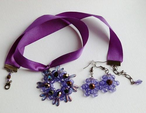 Rozeta na stužce (satén) –  fialová a černá (134)