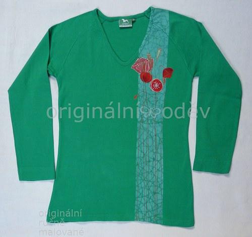 Malované tričko dámské - máky - zelené