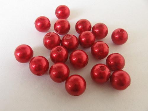 Voskové korálky - červená  8 mm / 25 ks