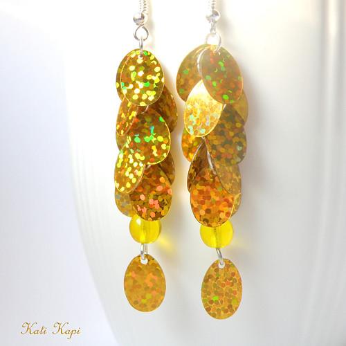 Náušnice zlaté třpytivé