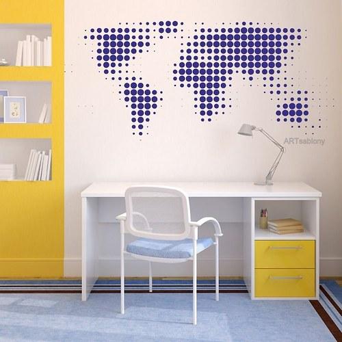 Mapa Sveta 58x94cm Samolepíci dekorace 3440n