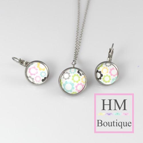 ocelový set - náušnice a náhrdelník barevné květy