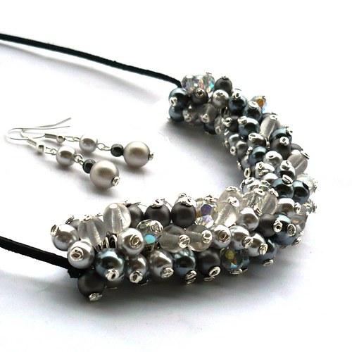 Šedavý náhrdelník s náušnicemi - 20% sleva