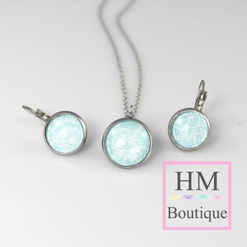 ocelový set -náušnice a náhrdelník světlě modrý