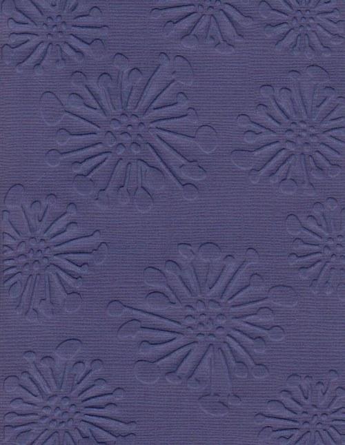 Embosovaná čtvrtka A6 - květiny modré