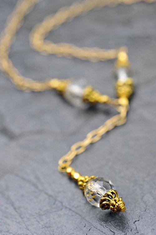 Zlatý řetízkový náhrdelník - čiré korálky N0017W