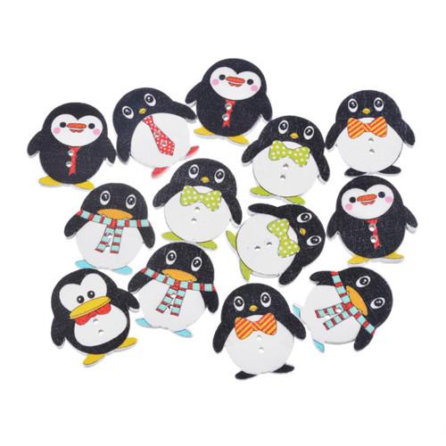 Knoflíky - dřevo - tučňáci